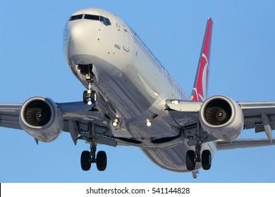 VNUKOVO, MOSCOW REGION, RUSSIA - DECEMBER 20, 2016: Boeing 737-800 YC-JYC of  Turkish airlines airlines landing at Vnukovo international airport.