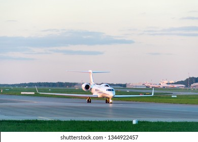 VNUKOVO, MOSCOW REGION, RUSSIA - JULY 29, 2018: Avcon Jet Gulfstream G550 (Registration OE-ISN). Plane makes taxiing on taxiway in Vnukovo International Airport.