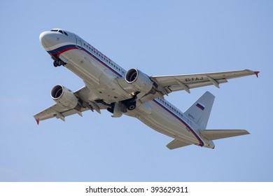 VNUKOVO, MOSCOW REGION, RUSSIA - JULY 02, 2014: Airplanes at Vnukovo international airport. Russia Airlines Airbus A320 taking off at Vnukovo
