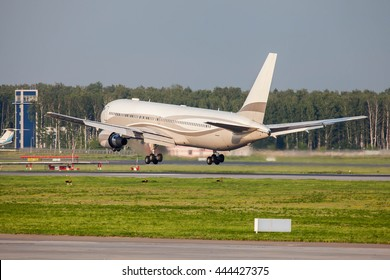VNUKOVO, MOSCOW REGION, RUSSIA - JUNE 27, 2016: Airplanes at Vnukovo international airport. The plane of Roman Abramovich Boeing 767-300 landing at Vnukovo airport