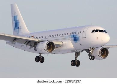 VNUKOVO, MOSCOW REGION, RUSSIA - NOVEMBER 20, 2016: Private Airbus A319-115(CJ) D-ALXX K5-Aviation landing at Vnukovo international airport.