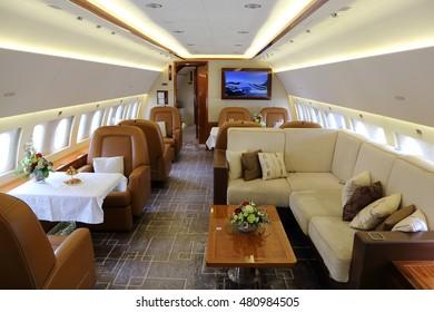 VNUKOVO, MOSCOW REGION, RUSSIA - SEPTEMBER 9, 2016: Airbus Corporate Jet ACJ 319 OE-LJG interior shown during Jetexpo-2016 at Vnukovo international airport.