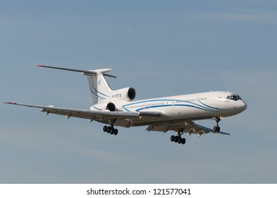 VNUKOVO, RUSSIA - SEPTEMBER 21: Aircraft operated by Gazpron Avia, landing in Moscow airport in Vnukovo on September 21, 2012. The company Gazpron Avia in its fleet has 4 aircraft Tupolev Tu-154