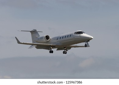 VNUKOVO, RUSSIA - SEPTEMBER 21: Aircraft operated by Simplejet LV, landing in Moscow airport in Vnukovo on September 21, 2012. The company Simplejet LV in its fleet has 1 aircraft Learjet 60