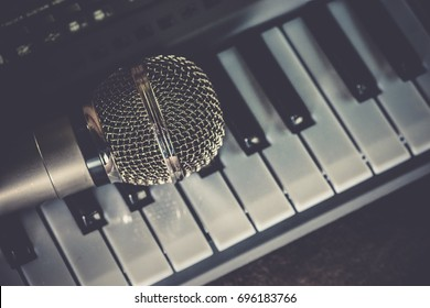 The vocal microphone piano keys