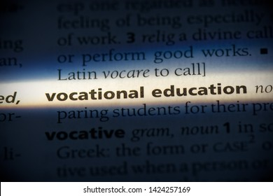 vocational education word in a dictionary. vocational education concept, definition.