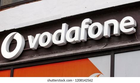 Vodafone title is seen on a brand store in Kiev, Ukraine, on 20 October 2018