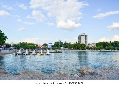 Vodice, Croatia - July 9, 2018: The beautiful pebble beach.