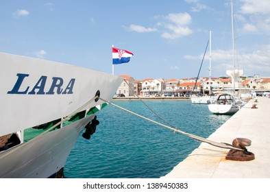 Vodice, Croatia - May1, 2019: Passenger ship Lara fasten at the pier in town of Vodice on a sunny spring day