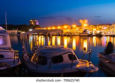 Vodice Croatia at Twilight Dusk Blue Hour on Summer Afternoon Tourist Season August 2017