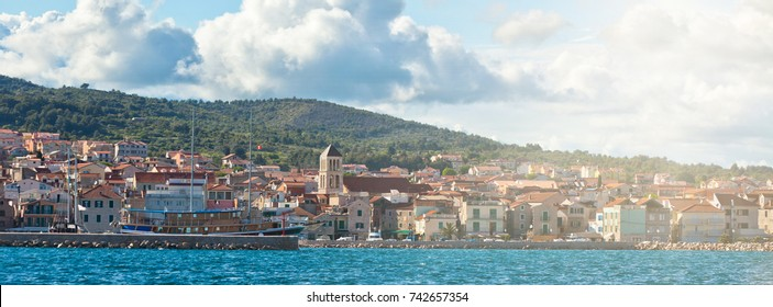 Vodice is a small historic town on the Adriatic coast in Croatia. Long wide banner