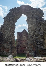 Vodita/Romania - May 02 2019: The ruined church of Vodita monastery near the Danube river. The ruins dates back in 1369.
