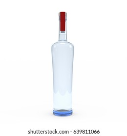 Vodka bottle isolated 3d rendering on white background