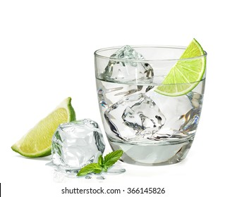 Vodka or gin  with lemon in rocks glass on white background