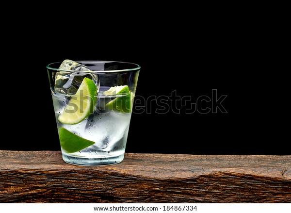 Vodka Lime Wedge Ice Rocks Glass Stock Photo (Edit Now ...