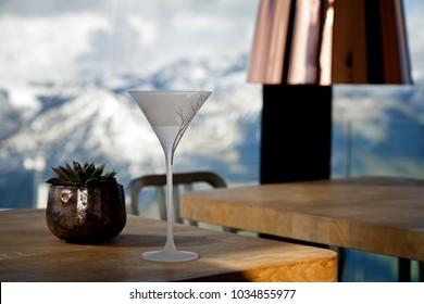 Vodka Martini James Bond Cocktail Mountain ice Q restaurant Interior Soelden Tirol Austria