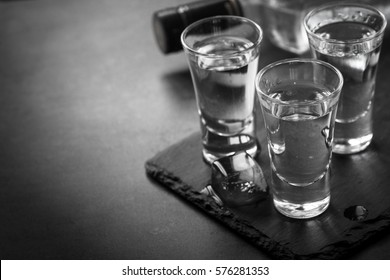 Vodka shot drink. Traditional strong drink. Monochrome.