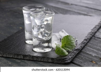 Vodka in shot glasses