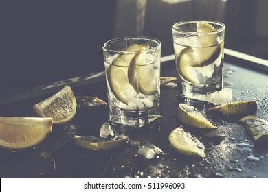 vodka, tequila, gin, ice, alcoholic cocktail