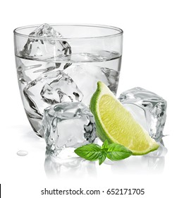 Vodka, tequila or gin  with lime in rocks glass isolated on white background