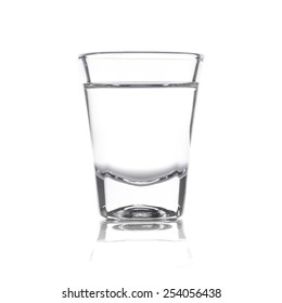 vodka and wineglass isolated on white
