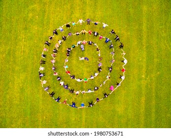 Vodnany - Czech Republic - July 13, 2018: Unidentified people in Horah dance. Dancing in a circle is an ancient tradition for special occasions, rituals, strengthening community and togetherness.