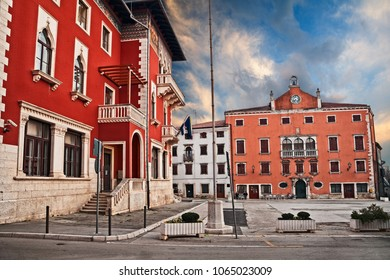 Vodnjan, Istria, Croatia: the ancient People Square in the town near Pula with the city hall and the old Bradamante palace
