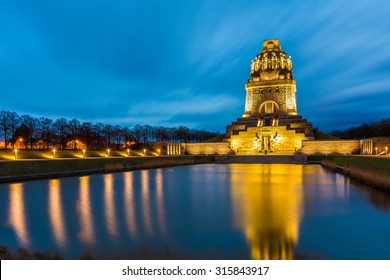 Voelkerschlachtdenkmal in Leipzig at nightfall in winter, Germany
