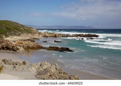 Voelklip (Bird Rock) Beach in the tourist centre of Hermanus, Western Cape, South Africa.