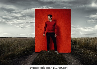Vogue shot. Handsome male model in stylish casual clothes posing in a field over red background.