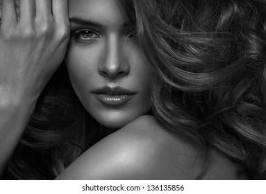 Vogue style photo of sensual woman