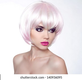 Vogue Style Woman. Hairstyle. Fashion Portrait Of Beautiful Girl. Fringe. Professional Makeup.
