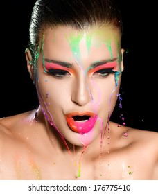 Vogue woman face with colorful Make-up. Beauty and Fashion closeup portrait. Isolated on Black