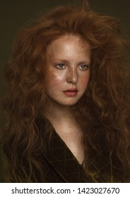 Vogue young model with red hair and freckles