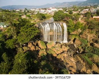 Voi waterfall from  high view in Dalat, Vietnam