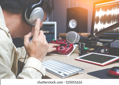 voice actor for tv program working in post production studio, DJ in radio broadcasting, sound engineer on digital editing equipment