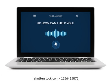 Voice assistant concept on laptop computer screen. Isolated on white background. All screen content is designed by me.