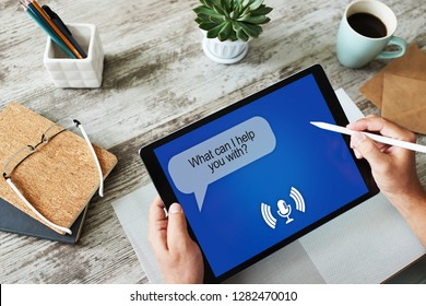Voice assistant on device screen. Internet technology and digital marketing concept.