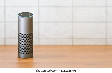 voice controlled smart speaker on a table