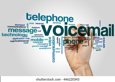 Voicemail word cloud concept with phone message related tags