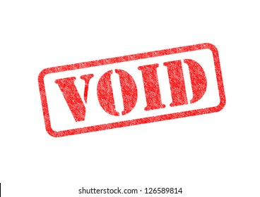 'VOID' Red Stamp over a white background.