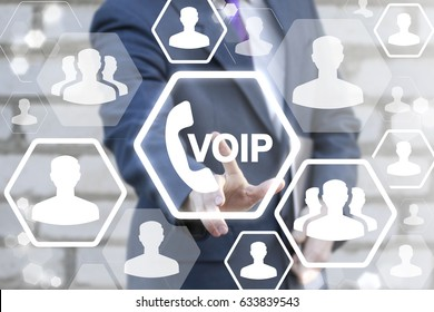 VOIP Business Office Communication Social Network Concept. Voice over IP - phone internet call technology. Web connection people. Man touched voip handset icon on touch screen in global network.