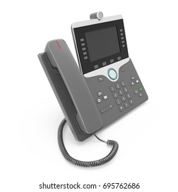 VOIP phone IP phone isolated on a white. 3D illustration