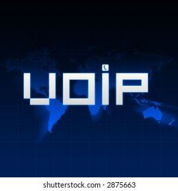 VOIP type on abstract background with map of the world.