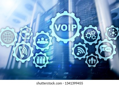 VoIP Voice over IP on the screen with a blur background of the server room. The concept of Voice over Internet Protocol.