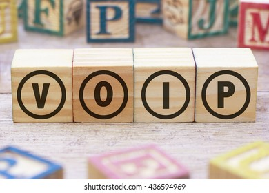 VOIP word written on wood cube