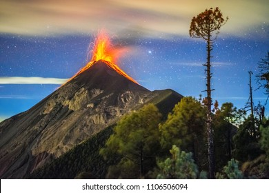 Volcan Fuego eruption, night picture, Guatemala, 2018