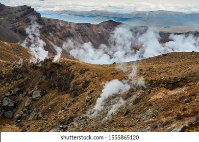 Volcanic activity in Tongariro National Park, New Zealand, on the Alpine Crossing route