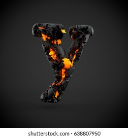 Volcanic alphabet letter Y lowercase. 3D render of volcanic font with burning lava isolated on black background.