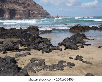 Volcanic beach at Playa Peligrosa near Orzola, Lanzarote